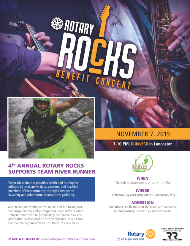 Join us for an evening of live music and fun to support the Susquehanna Valley Chapter of Team River Runner. Entertainment will be provided by the classic rock and alternative rock sounds of Erin Varley and Friends and the rock/funk/blues mix of The Reed Brothers Band.
